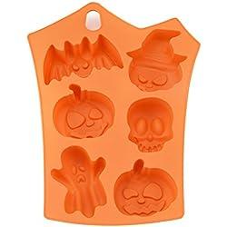 OUNONA Halloween Silicone 6 Pumpkins Cake Fundición de Chocolate Molde de molde molde de hornear (naranja)