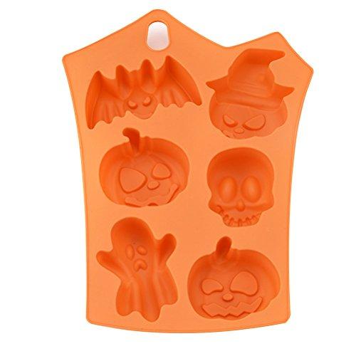 ounona Backform für Kuchen Silikon Backform für Cupcakes für Halloween 6Kürbis Ausstechformen für Fondant in Schokolade-Backform Backform für Kuchen im Schokolade (Orange) (Halloween Biscotti Di)