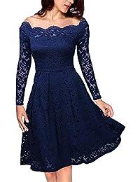 KOJOOIN Damen Spitzenkleid 1950er Cocktailkleid Vintage Brautjungfernkleider für Hochzeit Kurzes A-Linie Abendkleider (Gr.34-48)(Verpackung MEHRWEG)