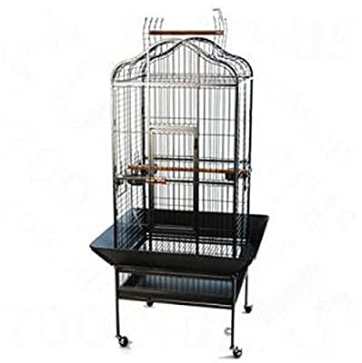 Elegant And Chic Metal Parrot Bird Cage In An Oriental Design w/ Handy Debris Trap by Noble