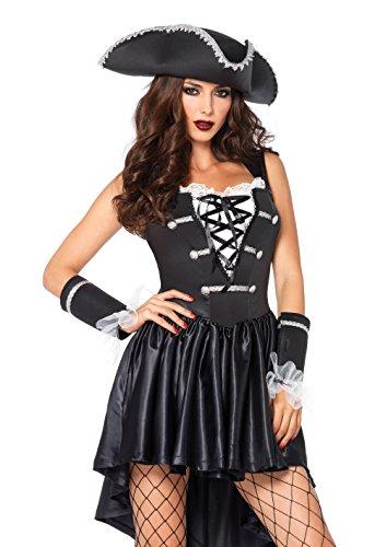 aptain Black Heart Kostüm Set, 3-teilig, Größe S/M, schwarz/weiß (Black Pirate Halloween Kostüm)