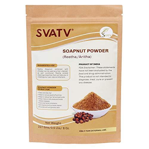 SVATV :: Poudre de Reetha/Aritha/Poudre de noix de savon (Sapindus Laurifolia) POUR CHEVEUX SOYEUX - (227g / (1/2 lb) | Excellent conditionneur de cheveux