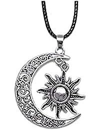 61c8301cee5f Collares Luna y el sol colgante bañado en plata cuero negro collares largo  cadena collares