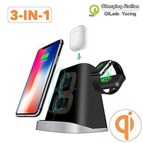 QILade Yzcing 3 IN 1 Qi Wireless Ladegerät Pad für Airpod für Apple Watch 1/2/3/4 Schnellladestation Station für iPhone XR XS X 8 für Samsung