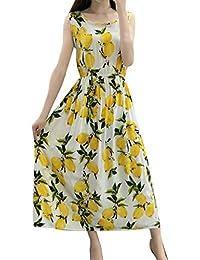 OPAKY Vestidos Mujer Verano Vestido Bohe sin Mangas con Estampado Floral de Verano para Mujer Casual