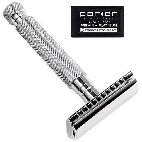 Parker Safety Razor Parker 97R Traditionelle Kurz Griff Double Edge Safety Razor & 5 Parker Premium-Rasierklingen -