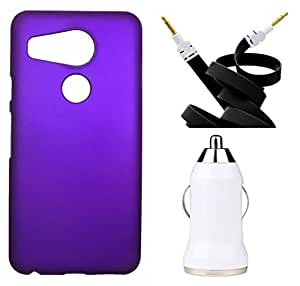 Toppings Hard Case Cover With Aux Cable & Car Charger For LG Nexus5X - Purple