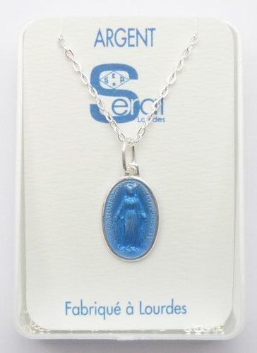 Collier Médaille Miraculeuse en argent 925 fabriqué en Lourdes France & sans Lourdes Prière Cartes