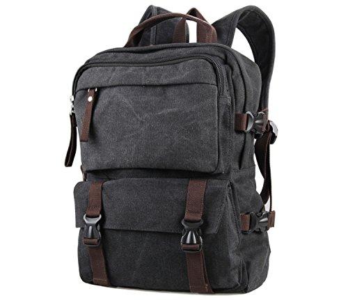 BONACE Retrò Canvas Zaino Porta PC Casual Scuola Borse Tela Viaggi Trekking Backpack per Gli Sport Esterni Perfetto per Gli Studenti e i Ragazzi / Adulti unisex(Grigio)