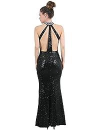 Sunshine - Longue robe de soirée à sequins et à bretelles - Femme