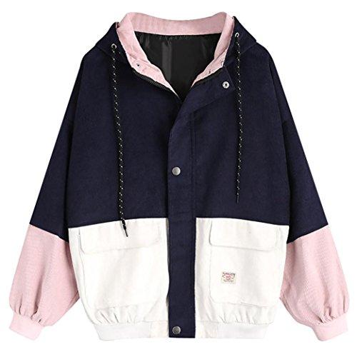 ❤️Femmes à Manches Longues en Velours côtelé Patchwork Veste Oversize Manteau Coupe-Vent Tefamore (L, Marine)