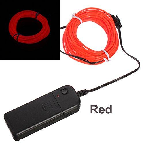 Bluelover 3M 10 Farben Flexibel Neon EL Wire Light Dance Party Decor Licht Rot (Dance Dekorationen Neon)