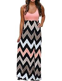 LHWY Kleid Damen Elegant Frauen Gestreift Lange Boho Maxikleid Lady Beach  Sommer Sommerkleid Plus Größe Ärmelloses 6404785023