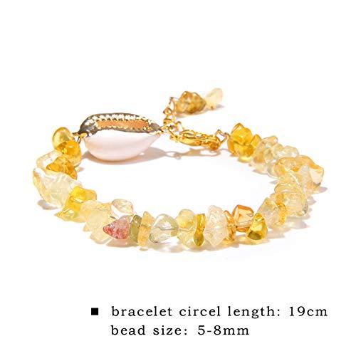 DUOJINZ Mode Weiße Muschel Armband Böhmische Natürliche Türkis Chips Perlen Armbänder Für Frauen Urlaub Schmuck Muschel Strand Joyeria (Platin-chip)