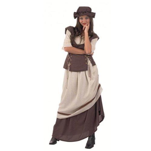 Marktfrau Gewand, Rock mit Schürze, Bluse mit Weste, Mittelalter Kostüm, inkl. Kopfschmuck - (Frau Kostüme Renaissance)