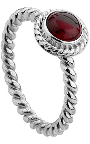 Nenalina Damen Ring Silberring besetzt mit 6 mm rotem Granat Edelstein, handgearbeitet aus 925 Sterling Silber, Gr. 56-212999-001-56