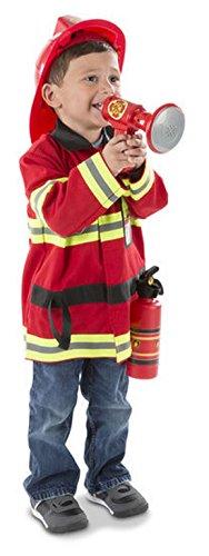 Kinder Jungen Boy Feuerwehr-Mann-Kostüm, 5-teiliges Set Mit Sound, 98-116, 3-6 Jahre, Rot (Feuerwehrmann Kostüme Boy)
