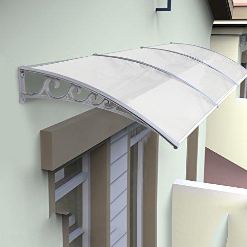 Pensilina trasparente, pensilina tettoia in policarbonato,protezione uv, resistenza alla corrosione,per porta o finestra per esterno (100 x 150)