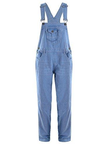 Anna-Kaci Les Femmes Denim Jeans Bleu Poches Jambe Droite de Salopette Anna-Kaci