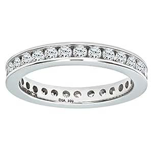 Naava 18 ct White Gold 1 ct Diamond Channel Set Eternity Ring, White Gold, J