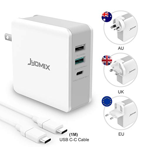 65W USB C Ladegerät, JYDMIX 3-Port USB C Charger mit USB-C Power Delivery, Fast Charge USB QC3.0 Ttragbares Internationale Ladegeräte mit Austauschbaren Stecker