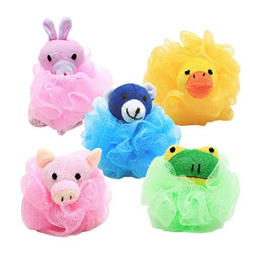 Frcolor Packung mit 5 weichen Duschschwamm Tier Bad Luffa Mesh Pouf Körperpeeling für Kinder (zufälliges Muster) - 5 Tier-mesh