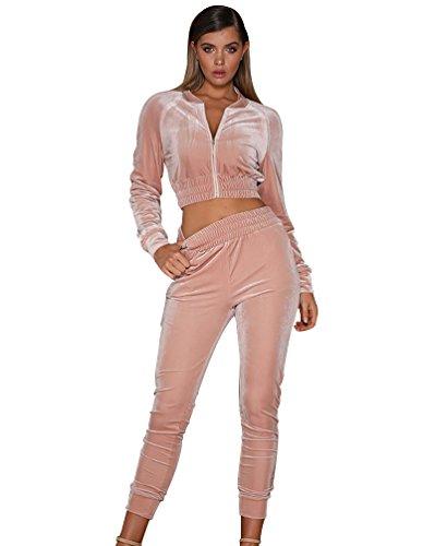 Yiiquan 2pcs Donna Crop Tops Sweatshirt Maniche Lunghe + Pantaloni Eleganti Casuali Jogging Rosa