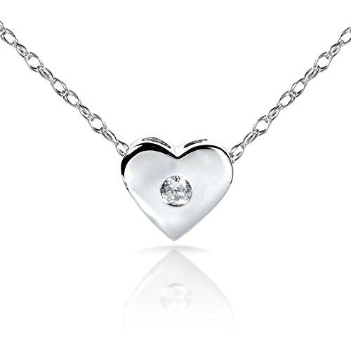 Diamond Bisel Corazón Colgante en oro blanco de 14K (18Cadena)