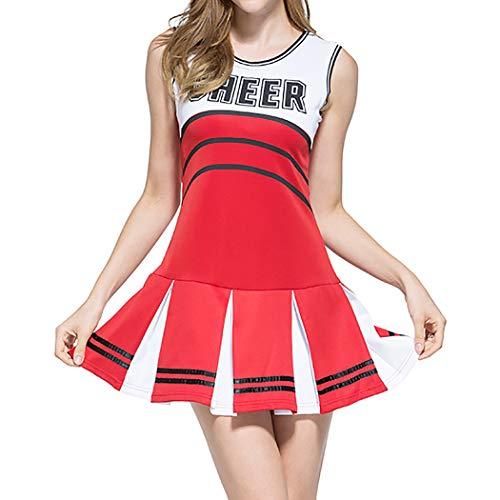 Uniform Kostüm Cheerleading - VENI MASEE Sexy Damen Varsity Abitur Cheer Mädchen Cheerleading Uniform Halloween Kostüm