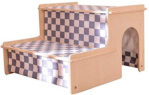 QTQZDD Escaleras para Mascotas Marco de Madera para Interiores Ensamblaje Lavable Cómoda Escalada, 2 Pasos, 2 Estilos de Doble Uso (Color: Color Madera, tamaño: 56x55x36.5cm): Amazon.es: Hogar