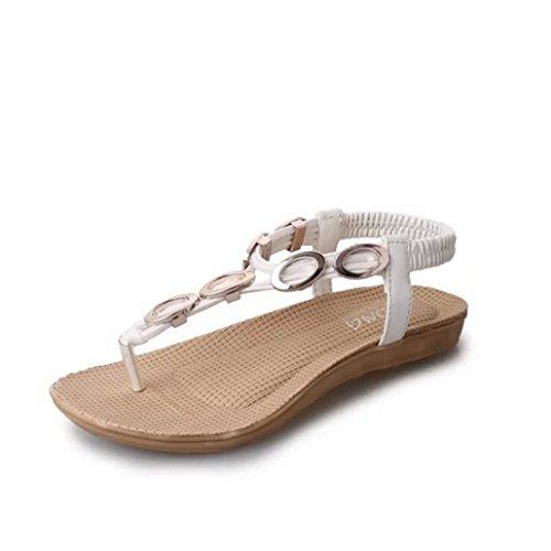 DM&Y 2017 Appartamento di perline clip di bohemien toe scarpe da spiaggia White