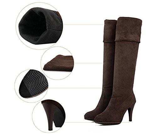 Minetome Femme Au cours genou Bottes Cuissarde Longue Simple talon haut chaussures ( Noir EU 37 ) Brun