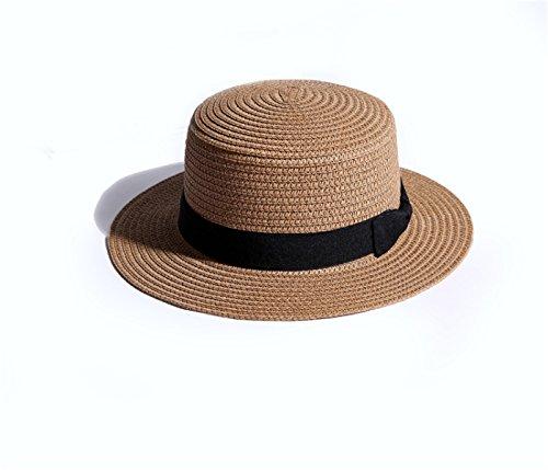 Mme été De Cap En Plein Air Voyage Pliage Chapeau De Plage Angleterre Chapeau Chapeau De Paille Chapeau De Soleil Casquette Plate Kaki