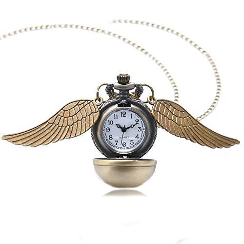 XY&DQ Taschenuhr Thema Goldener Ball mit Flügeln Design Quarz Taschenuhr Mit Swaeter Halskette Kette, Bronze