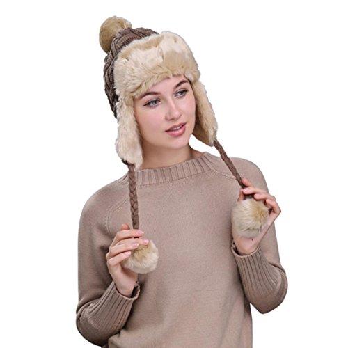QinMM Sombrero Grueso De Lana De Mujer Orejeras, Gorro