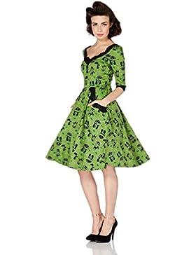 Vestito a forma di campana con stampa di Gatto in stile Rockabilly dagli anni 50's di Voodoo Vixen Katnis