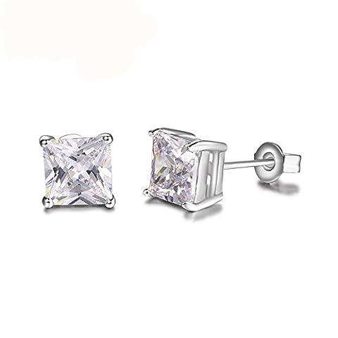 Fjyouria Charm pour femme Boucles d'oreille à tige carré plaqué en argent avec diamant Oxyde de Zirconium