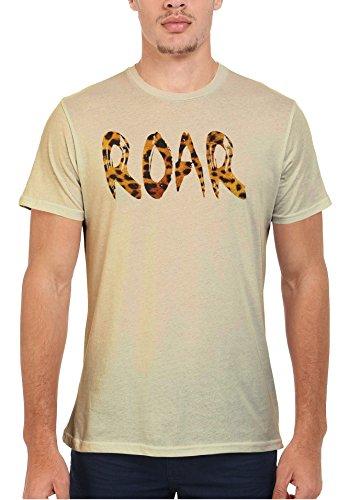 Roar Leopard Pattern Meow Cat Cool Men Women Damen Herren Unisex Top T Shirt Sand(Cream)