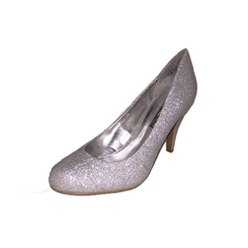 Mesdames paillettes rondes toe talon moyen escarpins silver