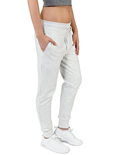 Casual Standard Jogginghose Damen Sweatpants Sporthose Trainingshose Jogger (L, light grey) (Loom Sweatpant)