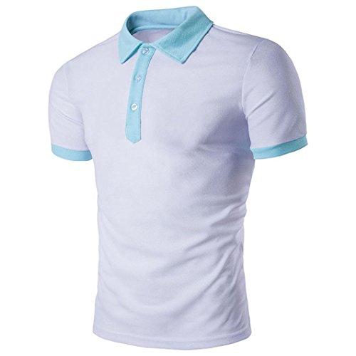 Rcool Männer heiße Sport-Kurzschluss-Hülse tägliche Polo-Hemd-T-Shirts T-Stück-Oberseiten Weiß