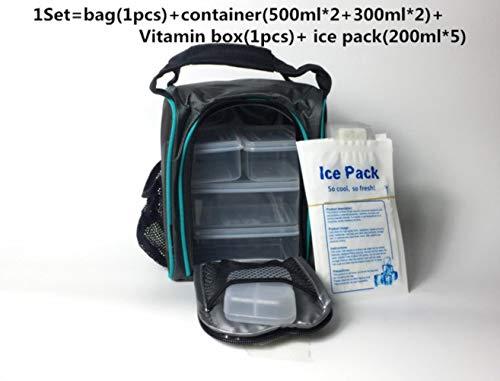 SAOJI Impermeable Picnic Lunch Ice Gym Bolsa de Comida aislada Refrigerador térmico portátil Fitness Professional Bag Control Containers, Juego de tamaño pequeño