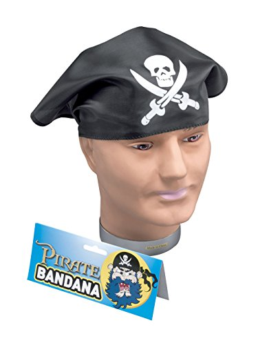 Bristol Novelty BA146 Pirat Kopftuch, Herren schwarz - Herren Blackbeard Piraten Kostüm