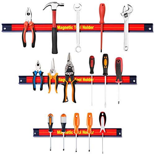 COSTWAY 3tlg. Magnetleiste Werkzeugleiste, Werkzeug Halterung, Magnet Werkzeughalter 21cm+31cm+46cm