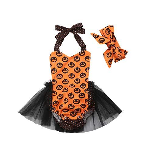 Baby Mädchen Halloween Kürbis Ghost Romper Halter Backless Bodysuit Jumpsuit Sunsuit Outfits mit Tutu Rock + Stirnband (Gelb, 12-18m) Ghost-jumpsuit