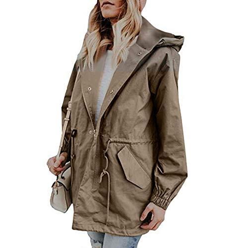 Femme Cardigan Outercoat Gilet Mince Trench avec Poche Manteau Hiver Autumne Veste Casual Sweatshirt Sport Pullover Blouse Blouson Pardessus Kaki XL