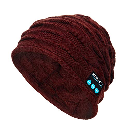 Momola Unisex Bluetooth Beanie Hut Musik Cap mit Bluetooth Kopfhörer 4.2 In Ear Kopfhörer für Sport Outdoor, Kompatibel mit iPhone Android Gerät (Braun)