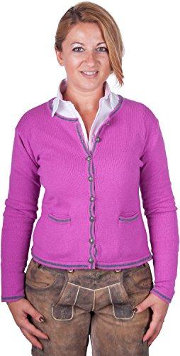 Almwerk Damen Trachten Strick Jacke Diana in grün, blau, grau schwarz und fuchsia, Größe Damen:M - Größe 38;Farbe:Fuchsia/Stein