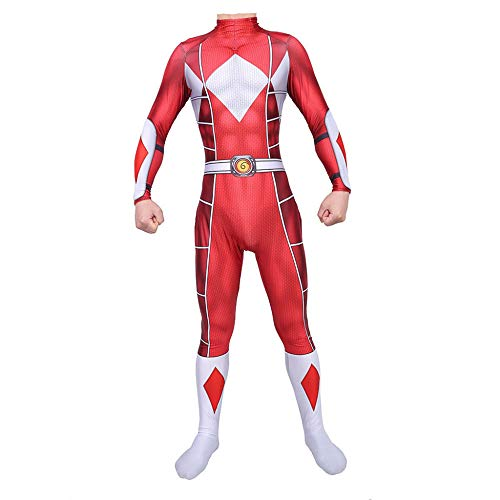 Power Ranger Kostüm Kinder Erwachsener Cosplay Kostüm Superhelden Halloween Onesies Mottoparty Karneval Strumpfhosen Kostümball Prop,Red-Adult-XL
