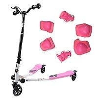 FoxHunter Kids Pink Mini Tri Push Scooter Swing Motion Trike Slider Striker Drifter